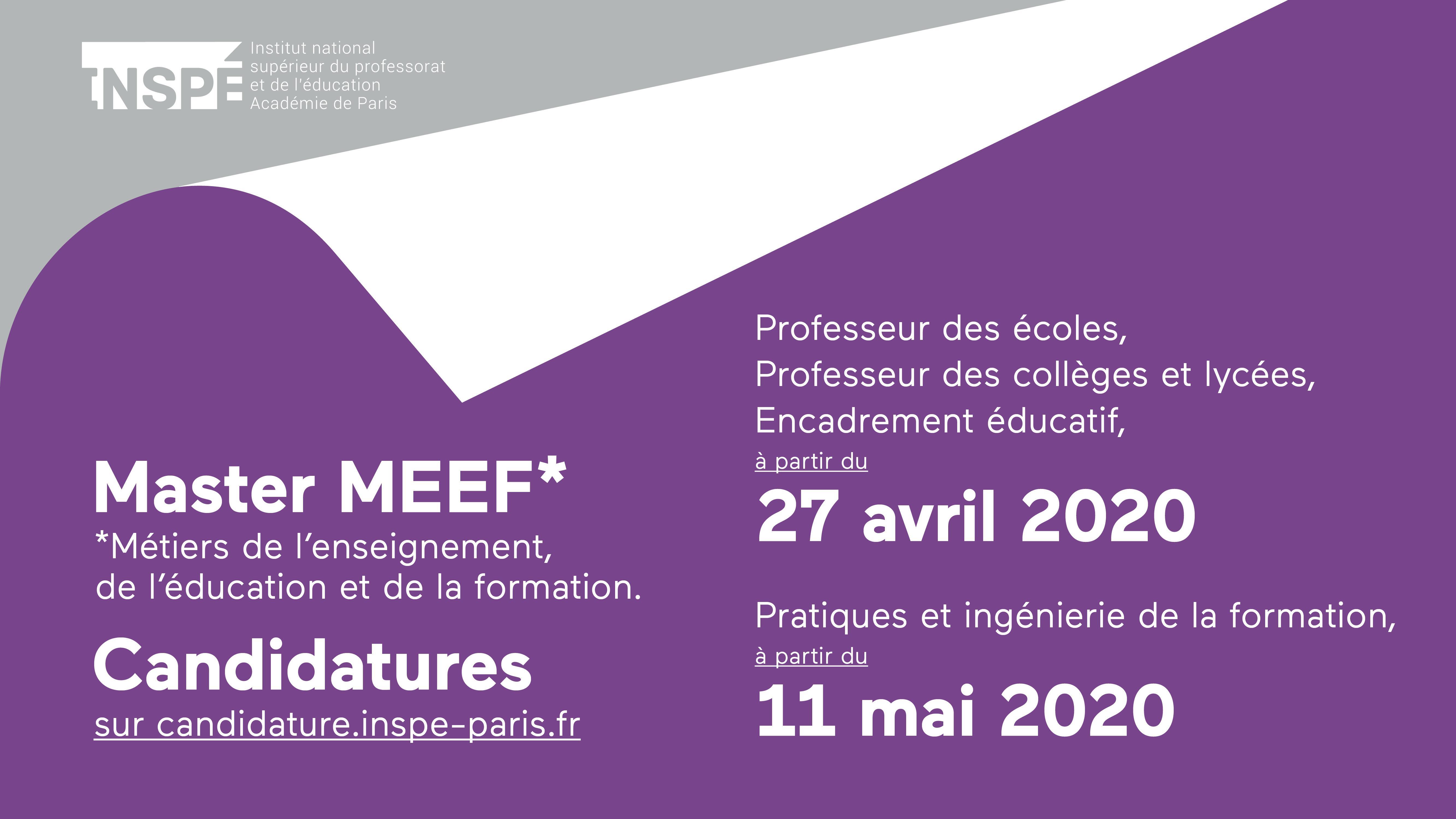 Master MEEF : appel à candidature 2020 - Affiche