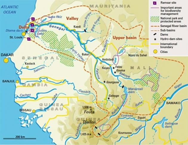 Carte de la vallée du fleuve Sénégal
