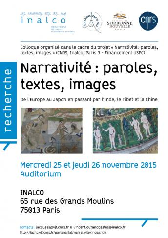 Affiche  - Narrativité-Paroles, textes, images - 25 et 26 nov 15