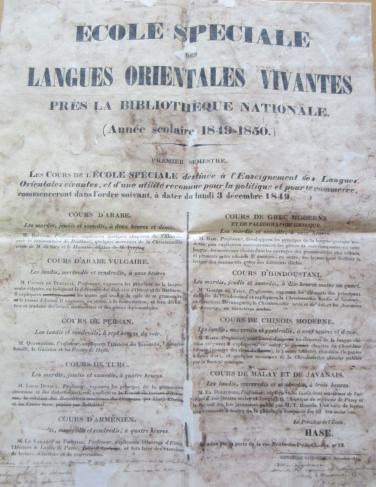 Affiche des cours 1849-1850