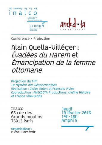 """Alain Quella-Villéger : """"Évadées du Harem"""" et """"Émancipation de la femme ottomane"""""""
