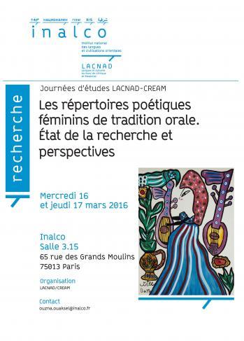 Les répertoires poétiques féminins de tradition orale. Etat de la recherche et perspectives