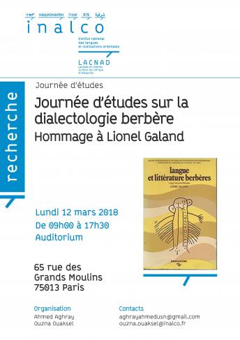 Journée d'études sur la dialectologie berbère. Hommage à Lionel Galand