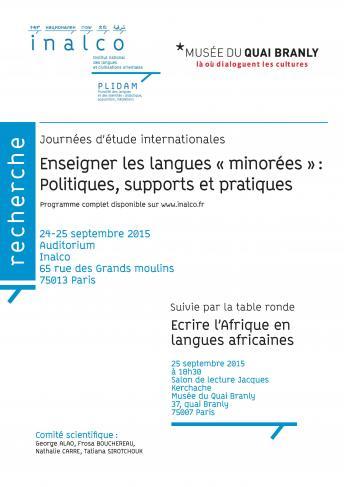 """Enseignenr les langues """"minorées"""" : politiques, supports et pratiques"""