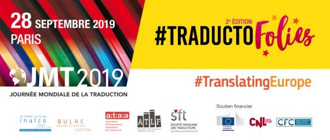 Bannière illustrant les Traducto'folies à l'occasion de la journée mondiale de la traduction. Figuration des logos des institutions partenaires.