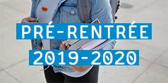 """sac à dos et livres + """"pré-rentrée 2019-2020"""
