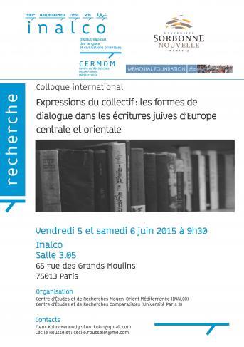 Expressions du collectif : les formes de dialogue dans les écritures juives d'Europe centrale et orientale