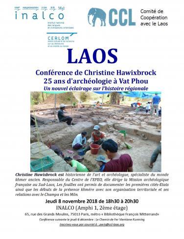 Laos - Conférence de Christine Hawixbrock : 25 ans d'archéologie à Vat Phou. Un nouvel éclairage sur l'histoire régionale