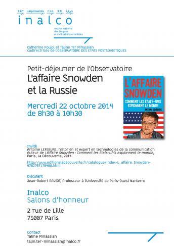 Petit-déjeuner de l'Observatoire - L'affaire Snowden et la Russie