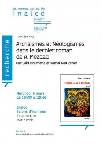 Archaïsmes et néologismes dans le dernier roman de A. Mezdad
