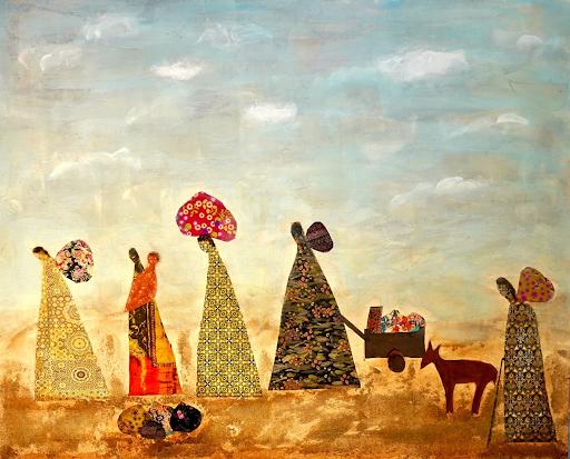Œuvre d'Oroubah Dieb, Le déplacement, 2018, acrylique et sable avec collages tissus et papiers.