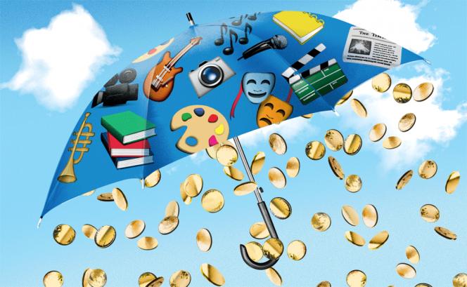 Parapluie coloré duquel tombe des monnaies