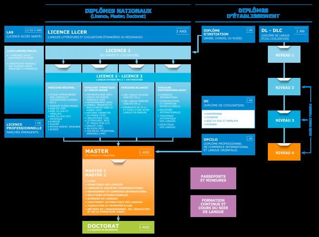 Schéma des formations Inalco - octobre 2020
