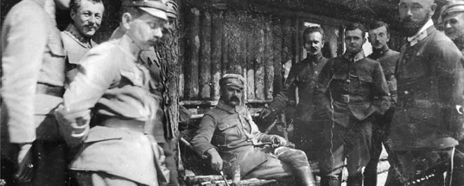 Józef Piłsudski et les officiers de la brigade des légions polonaises en Volhynie