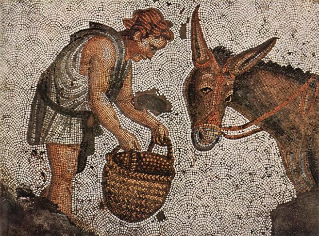 Mosaïque représentant un enfant tenant un panier rempli d'eau devant un âne