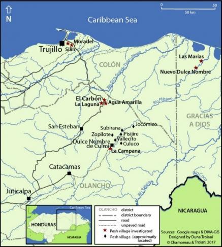 Localisation des villages où est parlé le pesh