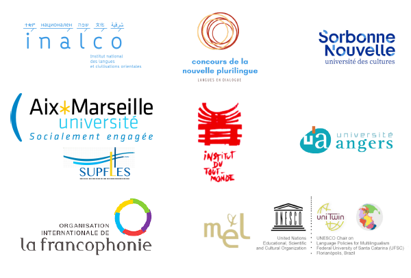 """Logos des partenaires du colloque """"Ecrire entre les langues"""""""