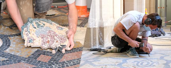 Rénovation des sols en mosaïques de la Maison de la recherche