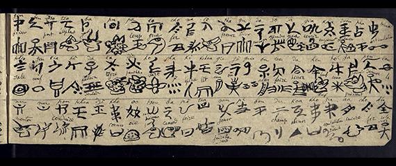 Ms. CHI.Naxi.5, glossaire de caractères dongba et geba, avec transcription latine par Jacques Bacot