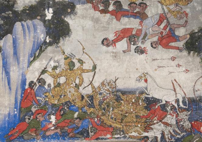 Scène de bataille d'un manuscrit laotien