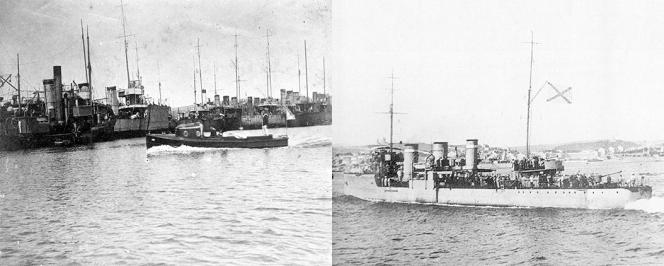 2 photos de navires au début du XXème siècle