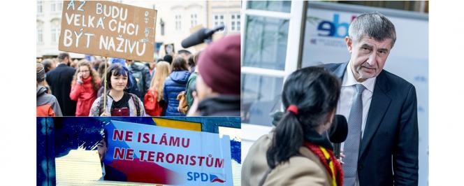 Montage de 3 photos : une manifestation, une affche et un homme politique interrogé par une journaliste