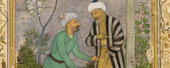 Saadi dans le Golestan ou Jardin des roses, peintures moghole vers 1645