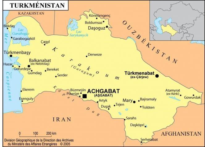 Turkménistan, carte géographique.