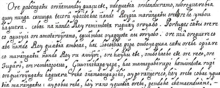 Lettre écrite en guarani au XVIII siècle