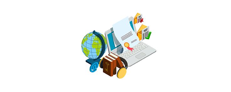 ordinateur, casque, livre et mappe-monde