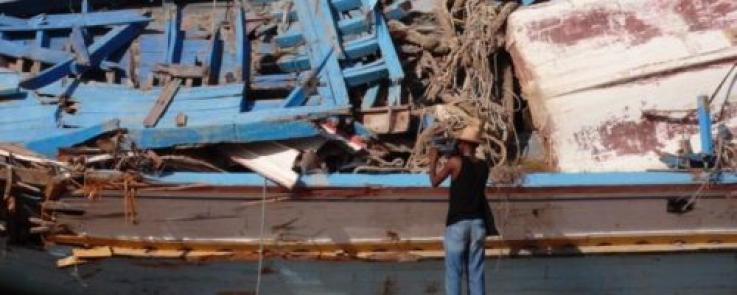 Cimetière des bateaux à Lampedusa