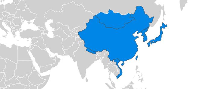 Carte Asie de l'Est