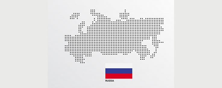 Carte de la Russie avec drapeau