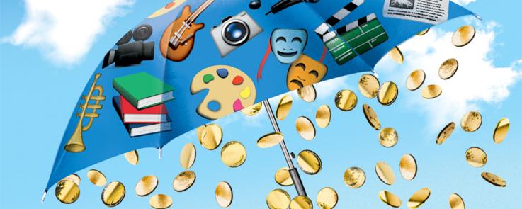 Pièces de monnaie qui tombent d'un parapluie