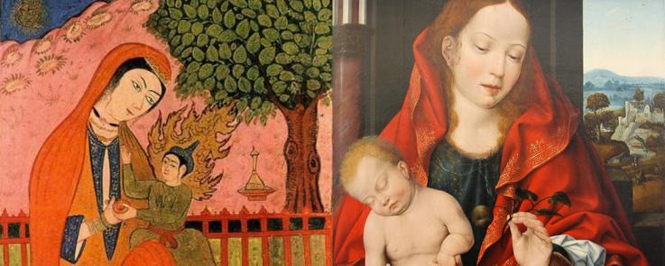 Montage de deux peintures anciennes de Marie tenant Jésus dans ses bras. Une miniature persane et un tableau de Joos Van Cleeve (1541)