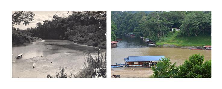 Entrée du parc national en Malaisie (Taman Negara) après-guerre et en 2016.