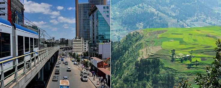 Montage photo trafic urbain et photo de champs cultivés (Ethiopie)