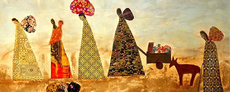 Œuvre d'Oroubah Dieb, Le déplacement 2018, acrylique et sable avec collages tissus et papiers