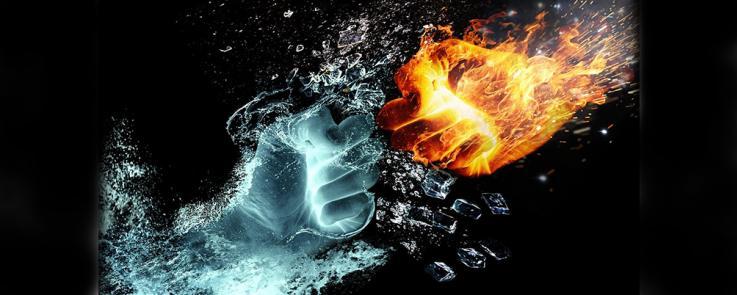 L'eau et le feu en lutte