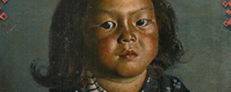 Kishida Ryusei, Reiko à 5 ans, 45x38 cm, huile sur toile, 1918, musée national d'art moderne de Tokyo