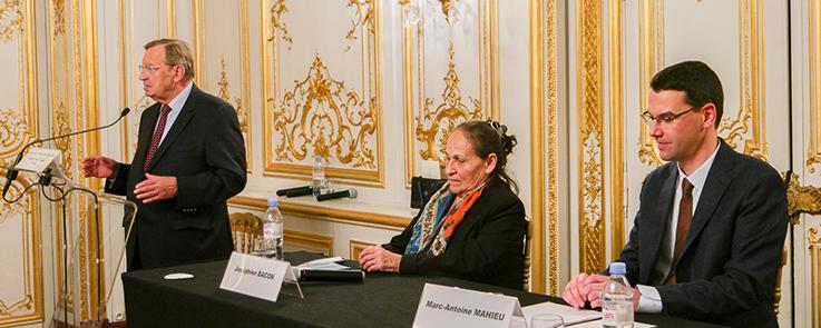 Cérémonie du prix Samuel de Champlain 2019 : Alfred Siefer-Gaillardin, Président de l'Institut France-Canada, Joséphine Bacon et Marc-Antoine Mahieu