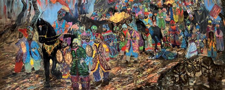 """Peinture """"O Baro Telăripen"""" de Ornella Rudeviča représentant une procession Rrom"""