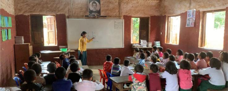 Myanmar - Enseignement en classe.