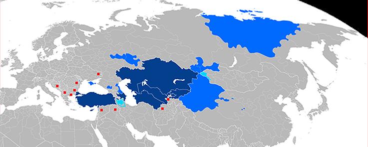 Pays et régions autonomes où une langue turque a un statut officiel ou est parlée à la majorité Peuples turcs