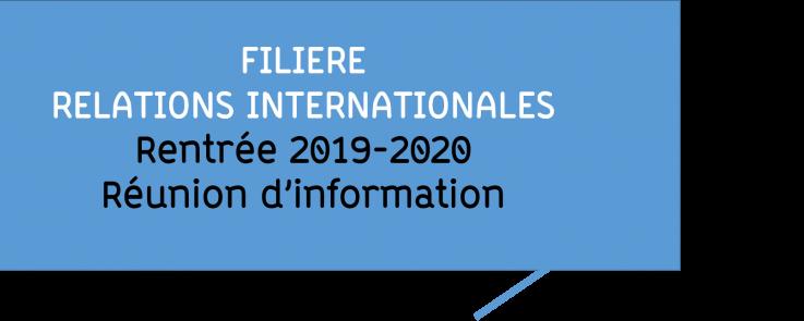 Rentrée Filière RI 2019-2020 - Réunion d'information