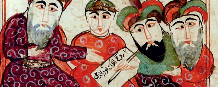 Illustration du manuscrit « L'histoire du roi Jali'âd et de son vizir Shimâs », Égypte, 1717.