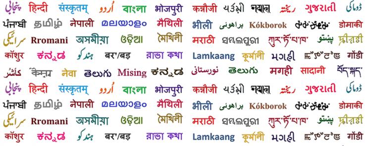 Composition de différentes langues d'Asie du Sud en graphie originale