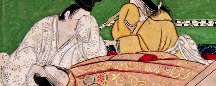 Le prince Genji en deuil, le visage recouvert de sa manche, devant sa fiancée Yugao qui vient d'être tuée.