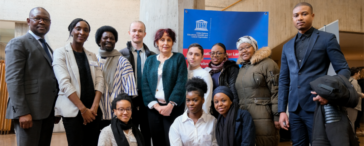 La section de swahili de l'Inalco en compagnie d'Aldin Mutembei, professeur de swahili à l'université de Dar es Salam, et Stéphie-Rose Nyot Nyot, fondatrice de la plateforme Je parle l'Afrique 2.0.