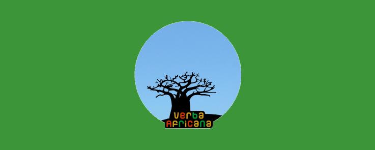 Dessin d'un baobab dans un rond bleu sur fond vert